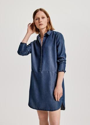 Натуральное джинсовое платье рубашка длины миди из 100% лиоцелла от opus (германия)