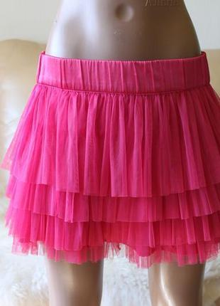 H&m яркая малиновая розовая юбка летняя воздушная и нарядная