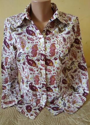 """Красивая хлопковая рубашка в принт """"пэйсли"""""""