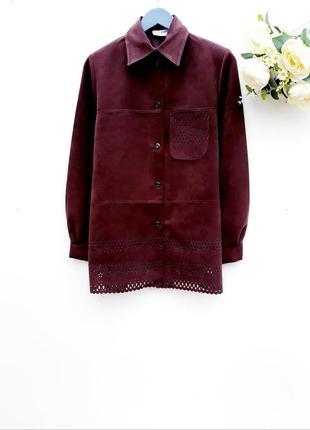 Красивая плотная рубашка с перфорацией крутая рубашка шоколадного цвета