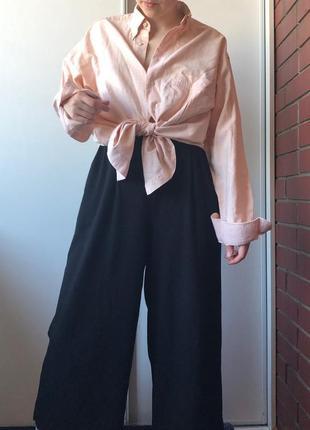 Рубашка льняная персикового цвета оверсайз ретро