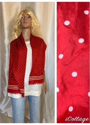 Двойной шелковый шарф шелк натуральный в горошек