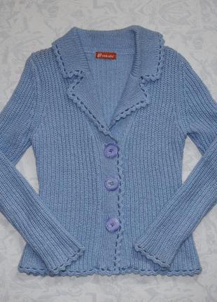Шерстяная кофта 80% шерсти, теплая кофта вязаная, теплый кардиган, пиджак