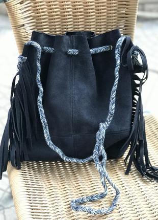Замшевая кожаная стильная женская сумка-мешок