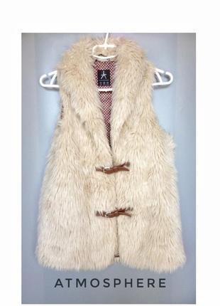 Белая меховая жилетка искусственный мех эко-мех с ремешками жилет теплый