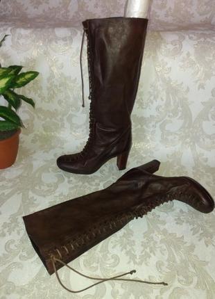 Брендовые кожаные высокие сапоги на шнуровке street life р. 39 (25 см)