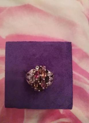 Серебряное кольцо с турмалинами р.17