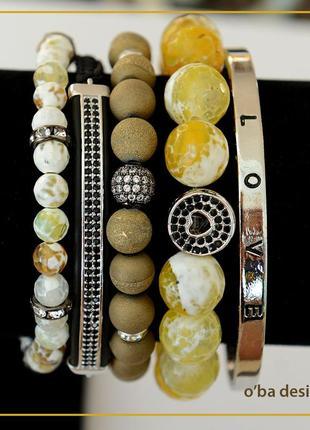 Набор из 5 браслетов из полудрагоценных камней - авторская работа