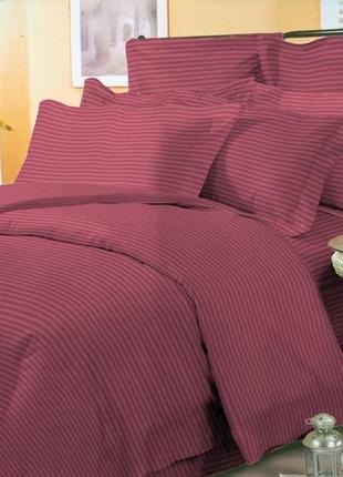 Постельное бельё комплект страйп сатин 100% хлопок бордовый