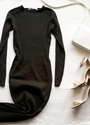 Скидки до 17.11 платье миди в рубчик zara