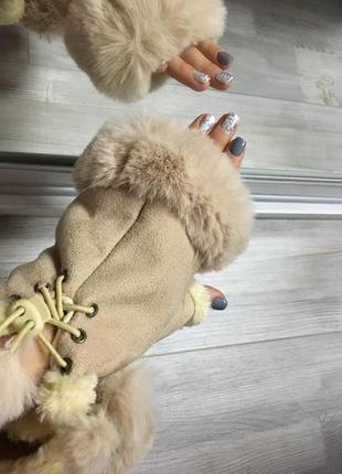 Митенки с мехом перчатки рукавицы варежки