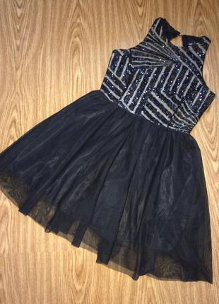 Вечернее праздничное выпускное платье нарядный сарафан с паетками