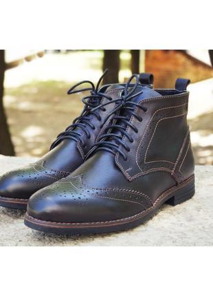 Зимнее броги, ботинки с натуральной кожи 40 -45 размеры