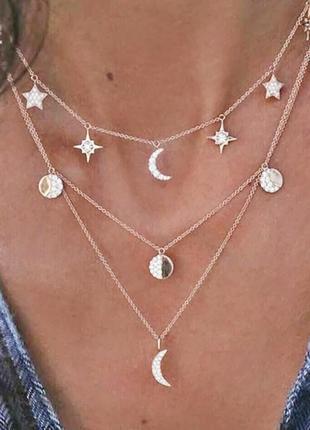Многослойное колье ожерелье чокер aldo moon star звезды луна подвески шармы  c asos