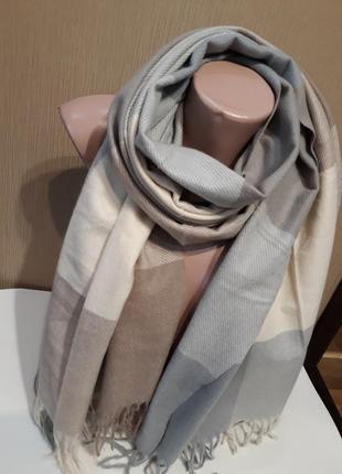 Роскошные пастельные тона тёплый мягенький шерстяной шарф плед клетка