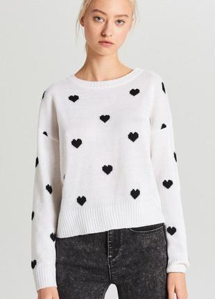 Милый укороченный свитер в сердечки кроп топ новый m l