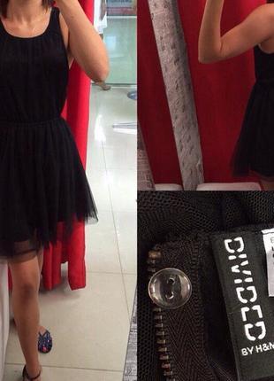 Чёрное платье с фатиновой юбкой