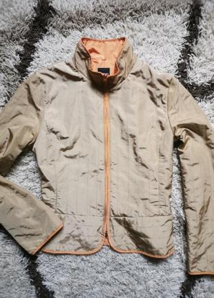 Стильный пиджак - куртка анорак бежевый золотистый  хамелион penny black