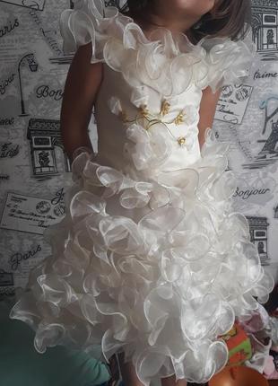 Нежное платье корсет, снежинка, цвет шампань, 92-104