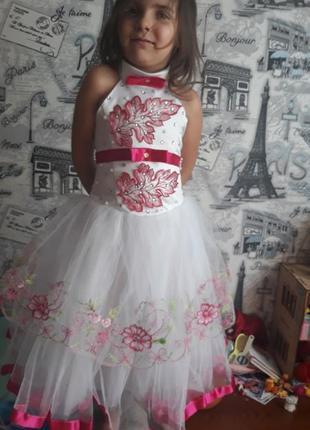Пышное платье, американка, корсет, конфетка 110-120, с малиновой лентой