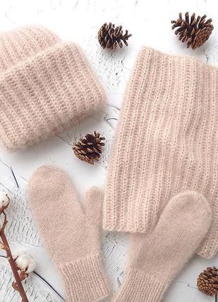 Теплый пушистый обьемный комплект набор шапка такори tak. ori снуд пудровые цвета