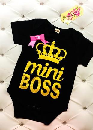 Черный нарядный красивый боди бодик с бантиком надпись muni boss с короной 70, 80, 90,100