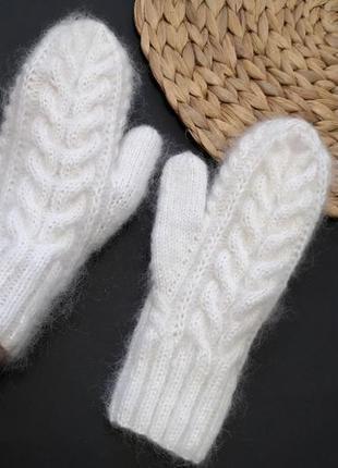 Bregoli design белые пушистые двойные варежки королевский мохер