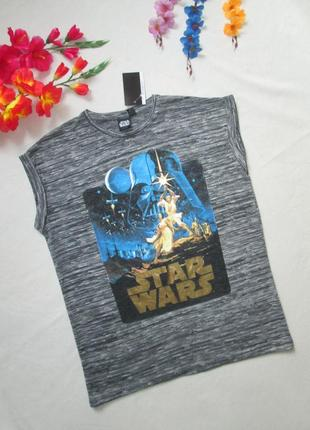 Крутая трикотажная стрейчевая футболка серый меланж star wars atmosphere.
