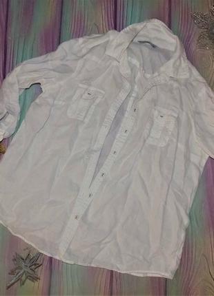 Льняная рубашка 48 р -в отл. сост