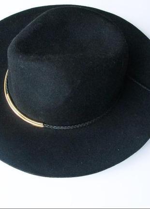 Шерстяная шляпа, шляпа с декором, шляпа с полями