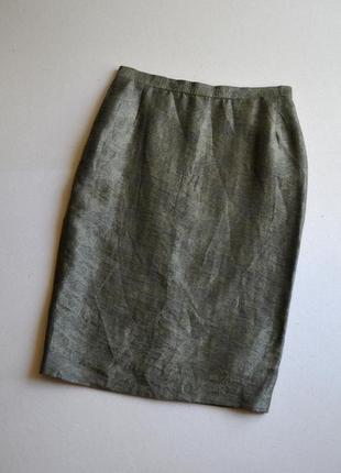 Льняная жаккардовая зауженная юбка р.s 83%лён madelein