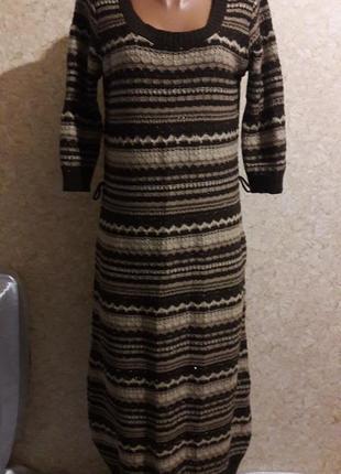 Длинное вязанное платье в полоску, потерян пояс