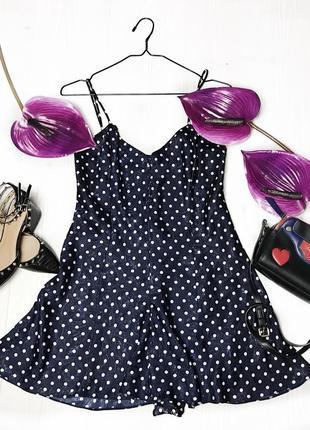 Брендовое платье zara в горошек цвет темно синий / черный