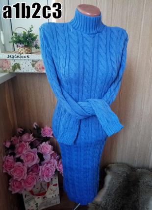 Новое теплое вязаное платье миди 7 цветов размер универсальный 42-48