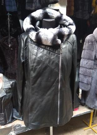 Курточка натуральная кожа овчина шиншила капюшон турция