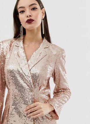 Club l стильна сукня-піджак вся в золотих паєтках