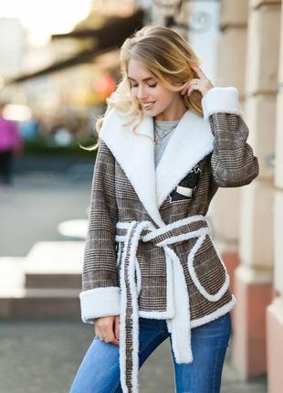 Дубленка-пальто на овчине коричневая