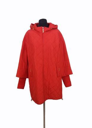 Куртка женская демисезонная peercat. яркий красный цвет. 3xl