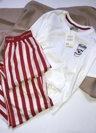 Новая белая хлопковая пижама, набор для дома/сна в полоску с вышивкой asos, p.s(36)