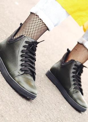 Стильные демисезонные кожаные женские ботинки, ботинки деми кожа