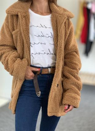 Куртка тедди тёплая овер сайз