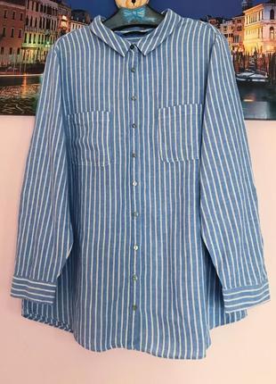 Рубашка льон в полоску , льняная рубашка