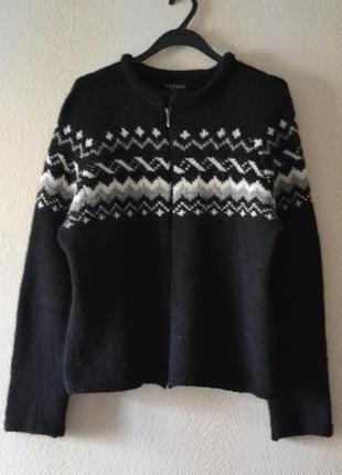 Шерстяная вязаная куртка кофта на молнии р.m-l-xl 100%исландская шерсть  varma