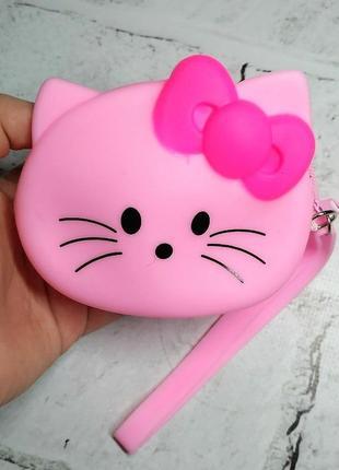 Кошелек-сумочка силикон кошечка, светло-розовый