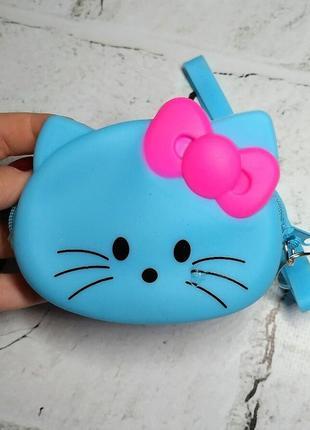 Кошелек-сумочка силикон кошечка, голубой