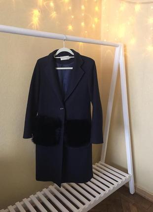 Демисезонное пальто club donna в темно-синем цвете.