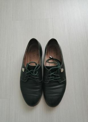 Кожаные темно-зелёные туфли на шнурках rylko