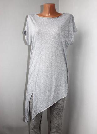 Блуза / футболка / асимметричная с разрезом / серый меланж