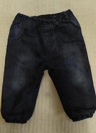 Тёплые джинсы джоггеры на девочку 6-9 мес