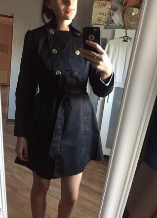 Актуальный осенний черный красивый плащ/пальто h&m